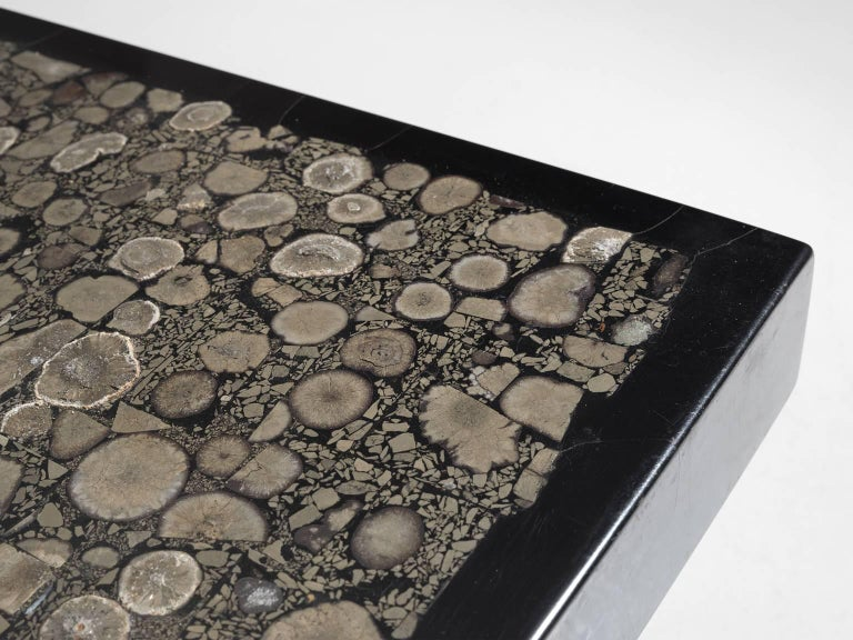 Belgian Jean Claude Dresse Signed Coffee Table with Marcasite Inlay Top For Sale