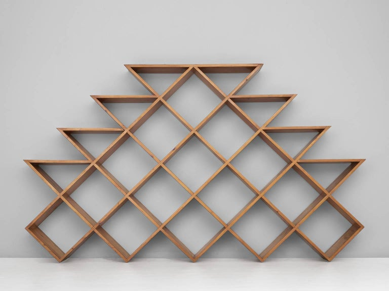 Mid-Century Modern Midcentury Graphical Wall Unit in Pine For Sale