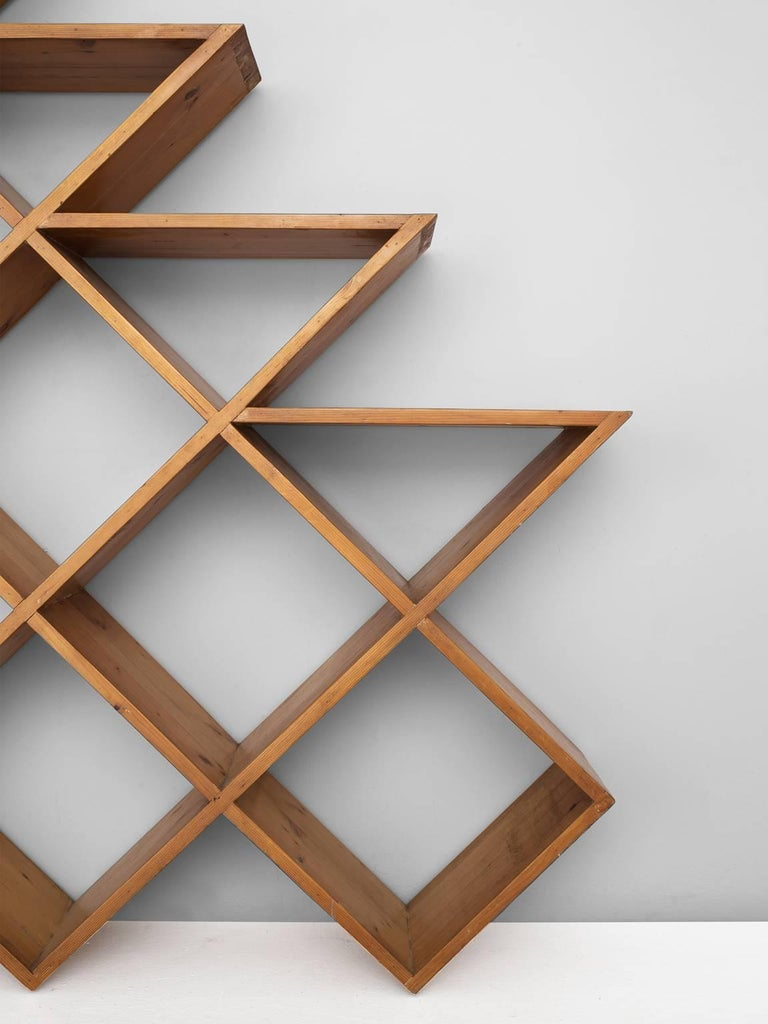 European Midcentury Graphical Wall Unit in Pine For Sale