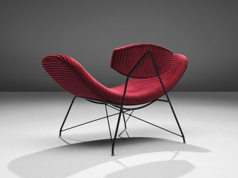 Brazilian Martin Eisler Armchairs in Red Velvet For Sale