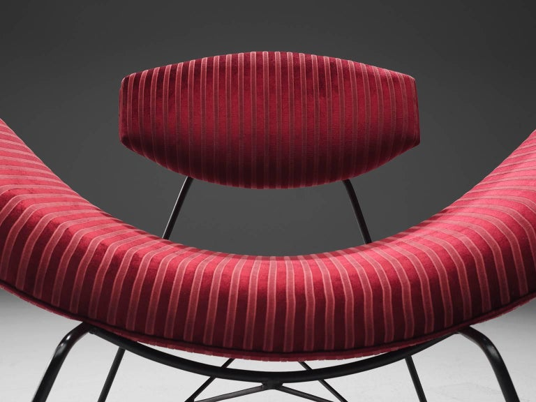 Martin Eisler Armchairs in Red Velvet In Good Condition For Sale In Waalwijk, NL
