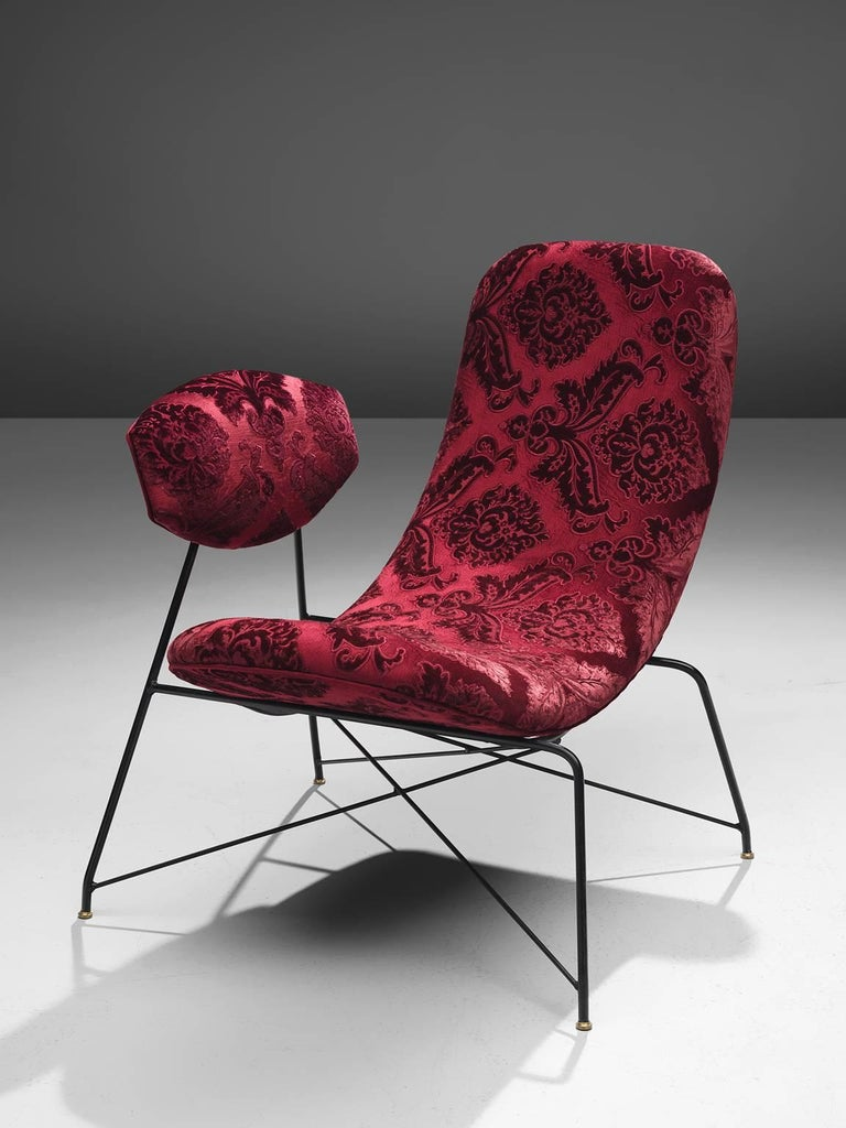 Brass Martin Eisler Armchairs in Red Velvet For Sale