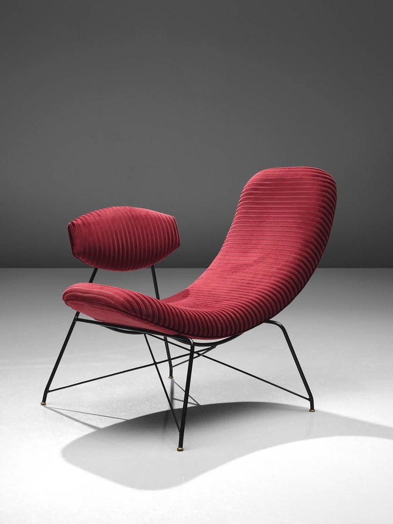 Mid-Century Modern Martin Eisler Armchairs in Red Velvet For Sale