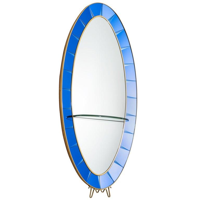 Large Blue Cristal Art Mirror