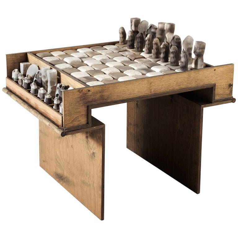 Exceptional Ceramic Chess Set and Table