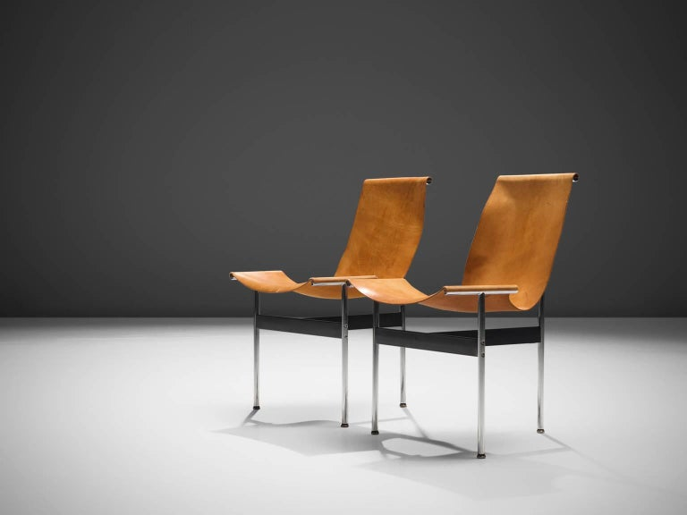 American Katavolos, Kelley and Littell T-Chairs in Cognac Leather, Set of Ten For Sale