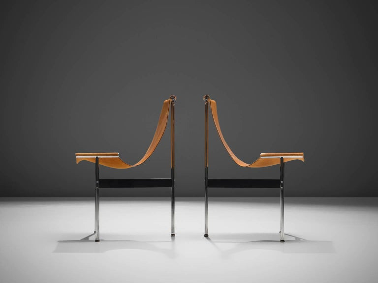 Mid-20th Century Katavolos, Kelley and Littell T-Chairs in Cognac Leather, Set of Ten For Sale