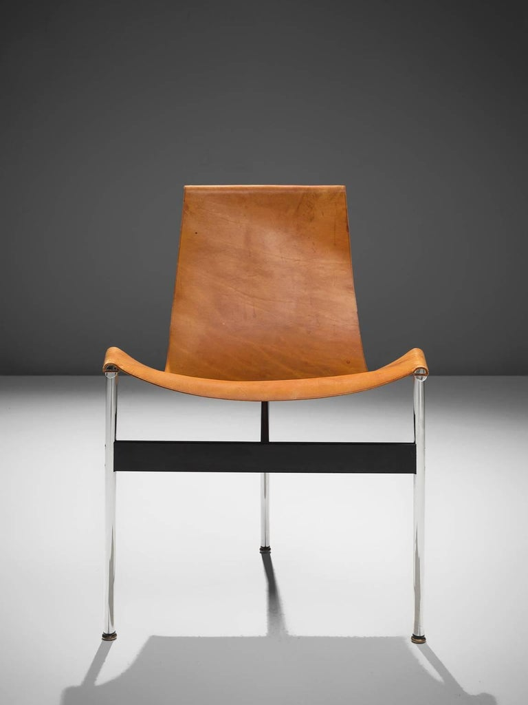 Steel Katavolos, Kelley and Littell T-Chairs in Cognac Leather, Set of Ten For Sale