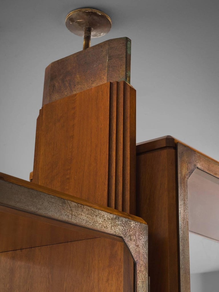BBPR Fully Restored Room Divider in Walnut and Brass For Sale 1