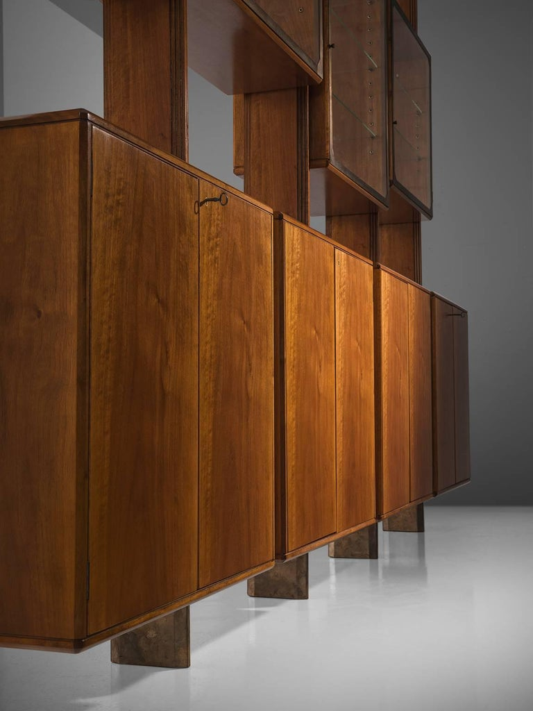 BBPR Fully Restored Room Divider in Walnut and Brass For Sale 2