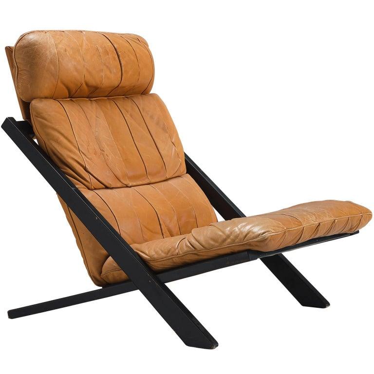 Ueli Berger Cognac Leather Lounge Chair for De Sede For Sale