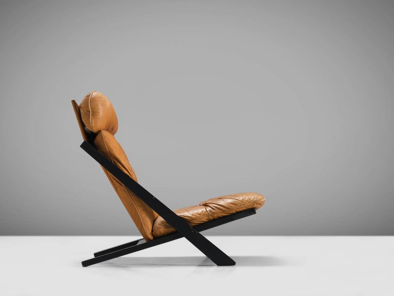 Post-Modern Ueli Berger Cognac Leather Lounge Chair for De Sede For Sale