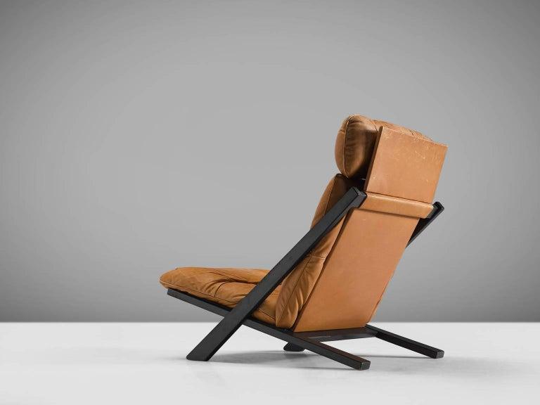 Swiss Ueli Berger Cognac Leather Lounge Chair for De Sede For Sale