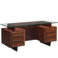 Freestanding Italian Desk in Rosewood and Brass
