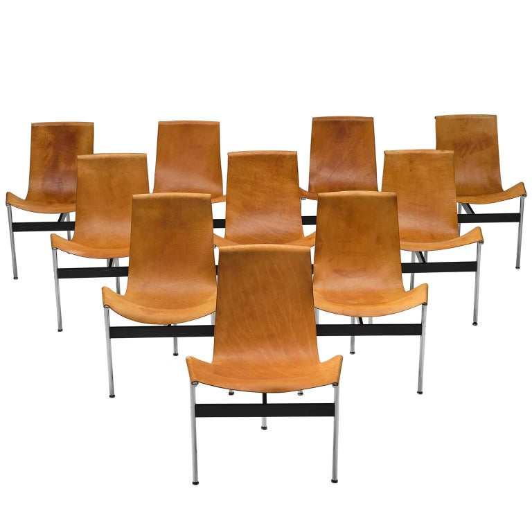 Katavolos, Kelley and Littell T-Chairs in Cognac Leather, Set of Ten For Sale
