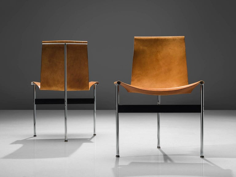 Katavolos, Kelley and Littell T-Chairs in Cognac Leather, Set of Ten In Good Condition For Sale In Waalwijk, NL