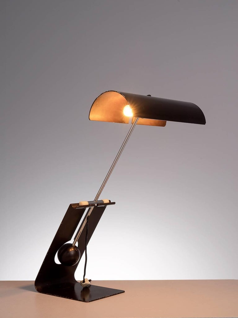Mauro Martini for Fratelli, 'Picchio' table lamp, brown coated aluminium, Italy, 1960s.
