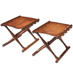 Poul Hundevad 'Goldhøj Stools' in Original Cognac Leather and Rosewood