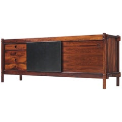Sergio Rodrigues Credenza in Rosewood and Leather