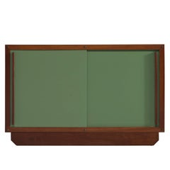 André Sornay Olive Green and Teak Low Cabinet
