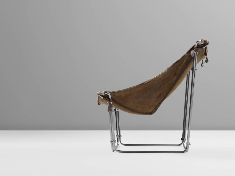Mid-Century Modern Kwok Hoi Chan Cow Hide Tubular Chair for Steiner, Paris