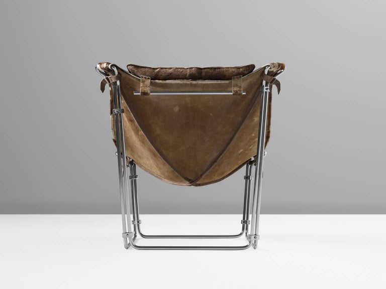 French Kwok Hoi Chan Cow Hide Tubular Chair for Steiner, Paris