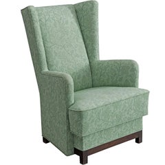 Danish Wing Back Chair in Green Floral Upholstery, 1940s