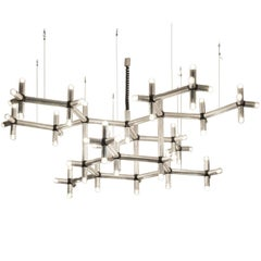 Robert Haussmann Atomic Polished Steel Chandelier
