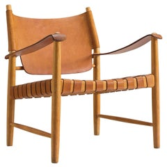 Danish Cognac Leather Safari Chair, 1950s