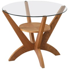 Scandinavian Round Coffee Table in Glass and Oak