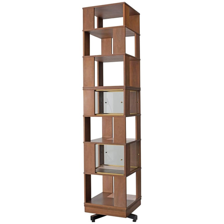 Italian Swivel Bookcase in Wood and Glass, 1960s
