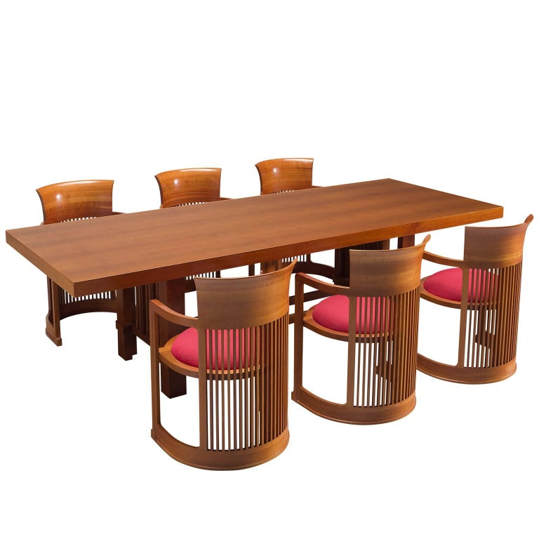 Frank Lloyd Wright 'Taliesin' Dining Table and Barrel Chairs for Cassina