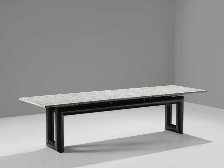 Post-Modern Mario Botta 'Terzo' Table with Grey Stone Top, 1983 For Sale