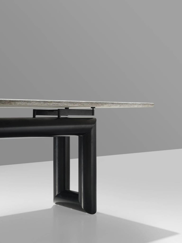 Late 20th Century Mario Botta 'Terzo' Table with Grey Stone Top, 1983 For Sale