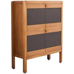 Walnut and Leather Highboard for Van den Berghe, Belgium