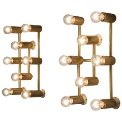Set of Eight Brass Wall Lights