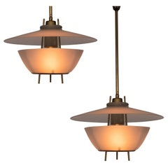 O-Luce Pair of Italian Pendants in Brass and Glass