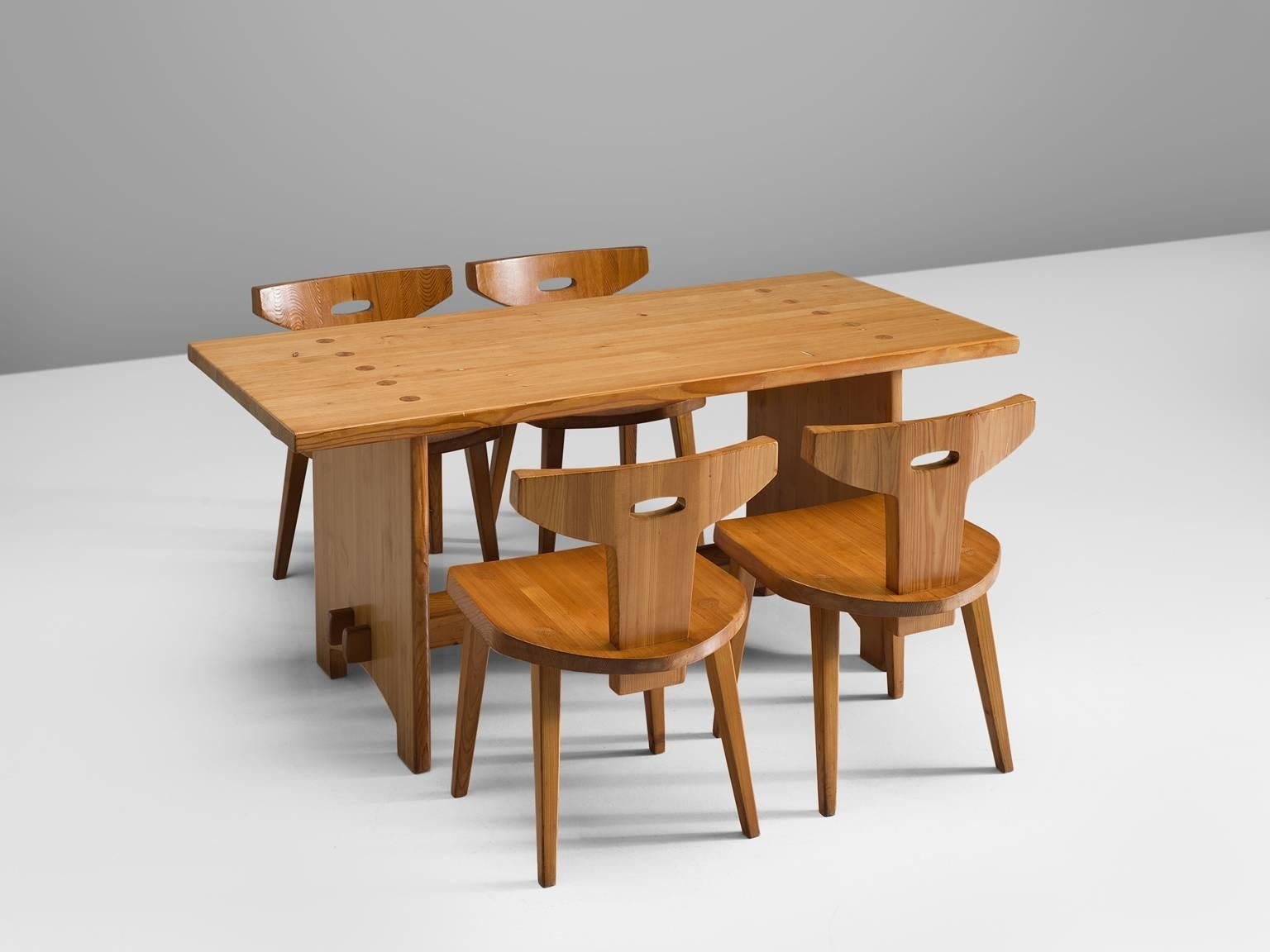 Jacob Kielland Brandt, Dining Set, Solid Pine, Denmark, 1960s. This