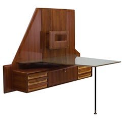 Italian Wall Mounted Desk with Glass Top