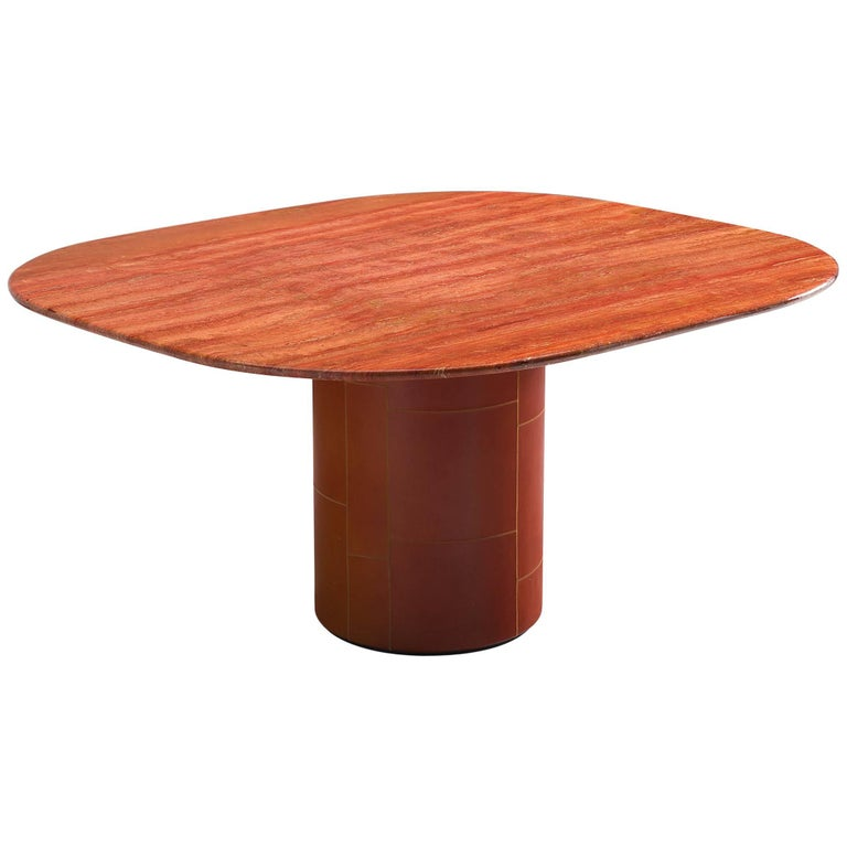 Dining Table in Red Travertine and Leather for B&B Italia
