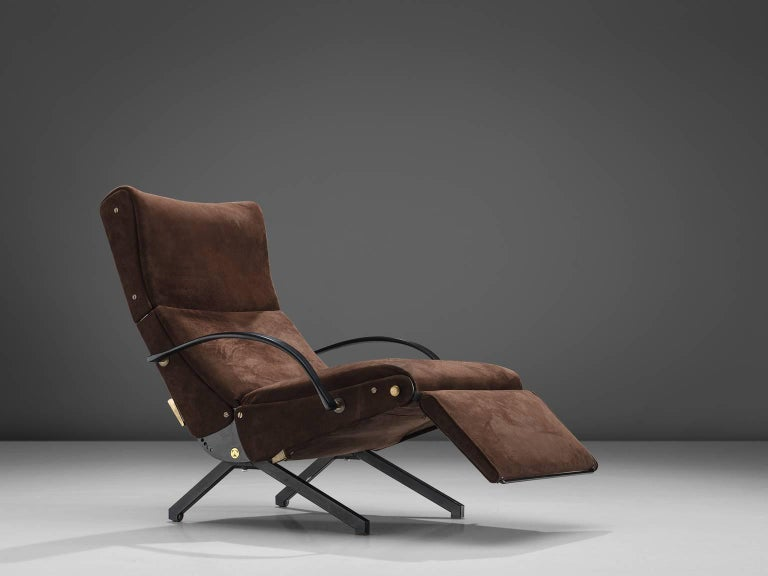 Osvaldo Borsani for Tecno, P40 lounge chair, original brown fabric, metal, Italy, 1955. 