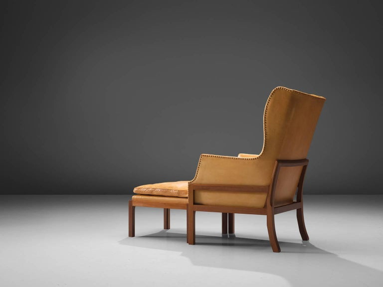 Danish Mogens Koch Wingback Lounge Chair in Mahogany and Cognac Leather For Sale