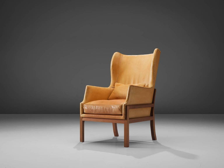 Mogens Koch Wingback Lounge Chair in Mahogany and Cognac Leather In Good Condition For Sale In Waalwijk, NL
