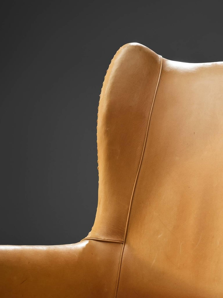 Late 20th Century Mogens Koch Wingback Lounge Chair in Mahogany and Cognac Leather For Sale