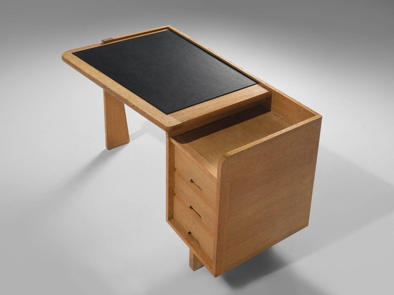 Guillerme et Chambron Desk in Oak by France, 1960s For Sale 1