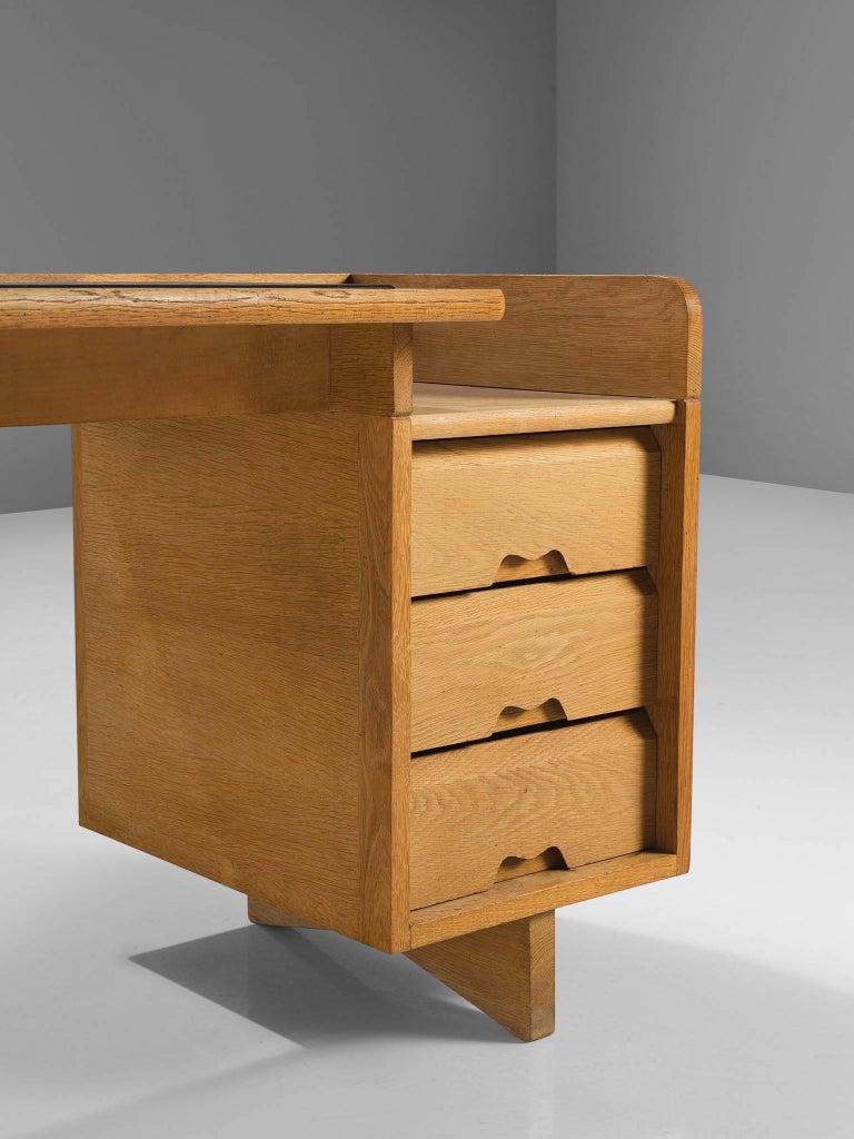 Guillerme et Chambron Desk in Oak by France, 1960s For Sale 3