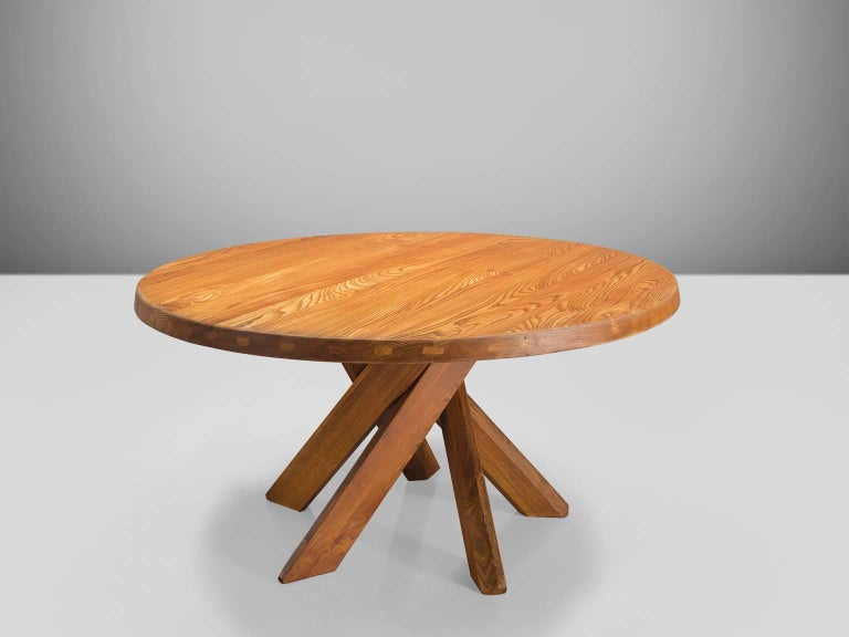 Pierre Chapo, dining table T21 Sfax, elm, France, 1960s.  This table is in a wonderful, patinated condition. The shape of the base creates a very open look and makes this an object to make a space more interesting. The perfectly made solid wood