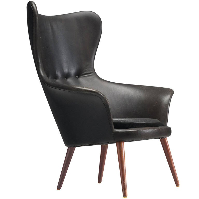 Danish Leather High Wingback, 1950s