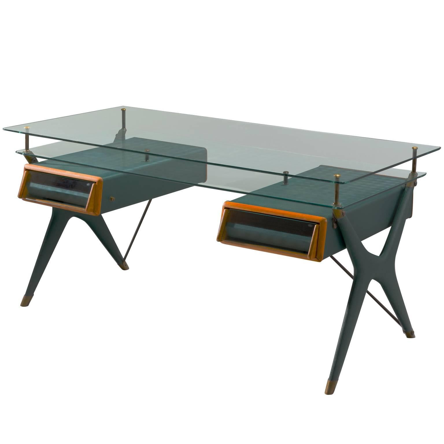 Silvio Berrone For Bialetti Desk In Green Leatherette And Brass