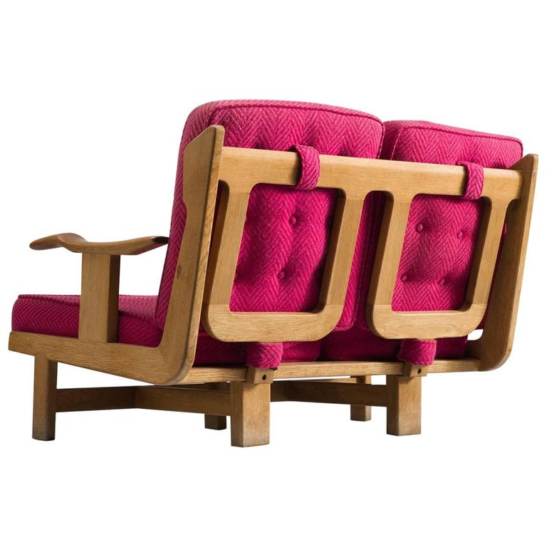 Solid Oak Sofa by Guillerme et Chambron with Pink Cushions